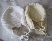2  plain  hand crocheted bonnets