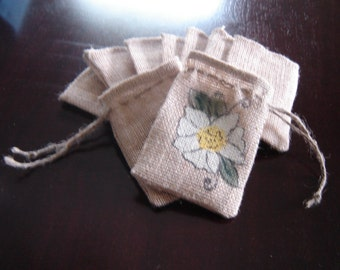 Set of TEN Personalized Burlap Gift Favor Bags with Handpainted Magnolia
