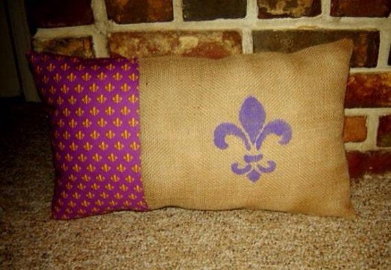 LSU Burlap Pillow with Purple and Gold Fleur De Lis Fabric and Painted Purple Fleur de Lis