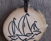 Sailboat Race - Hand Made Wood Necklace with Cotton String - FREE SHIPPING