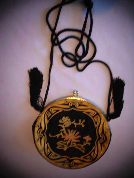 Purse:  JAPANESE GOLD SILK  Embroidered shoulder bag