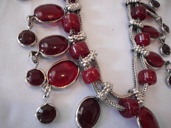 NECKLACE Silver and Glass, Stones  c. 1970