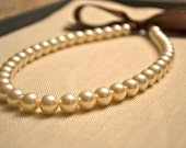 Victoria {Little Girl}: Beautiful Pearl Necklace - Ivory Pearls with Brown Ribbon Tie