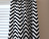 Pair of Designer Custom Curtain Panels 50 x 63 Black White Zig Zag Chevron with Grommets