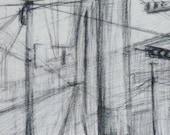 Conexiones (Connections)- Original drawing, urban landscape of El Salvador