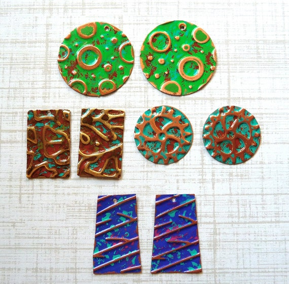 Copper Embossed Patina Findings