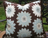 """Aqua Blossoms 22"""" Dreamy Pillow with 90/10 Down Insert"""