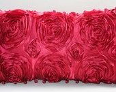 Red Satin Roses 18 x 10 Dreamy Pillow
