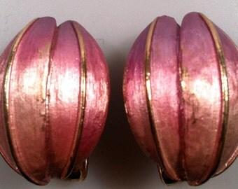 1960's Vintage Enameled Tulip Bud Clip-On Earrings Never Worn OLD Store STOCK