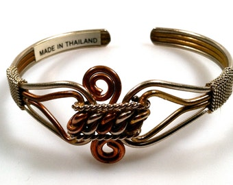 1970s Vintage TWISTED Metal Cuff Bracelet Made in Thailand Tri Color Brass Copper Silver