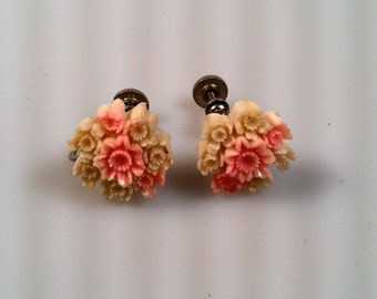CELLULOID Flower Earrings 1940s Vintage Screw Back Hand Colored Plastic Flowers Made in JAPAN Celluloid Earrings New Old Stock NOS