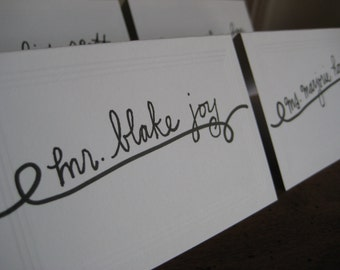 Escort Card Calligraphy - Whimsical Whirl