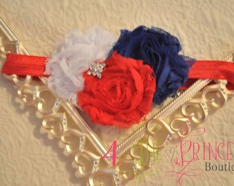 red, white and blue shabby flower headband