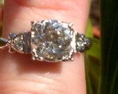 Uncas Sterling Silver and Rhinestone/Paste Engagement Style Ring