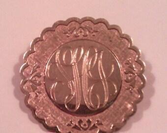Gold Plate Monogram Brooch