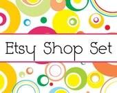 3- Piece Etsy Shop Banner Set Colorful Mod No.22
