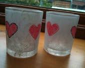 Hand-painted tealight holders, silver with red hearts