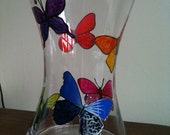 Stunning hand-painted butterfly vase