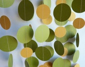 Retro Paper Garland, Avocado Green and Harvest Gold