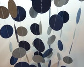 Paper Garland, Navy Blue and Silver/Gray, 10 feet long Father's Day, Graduation, Birthday