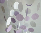 Paper Garland, Lavender, Lilac, Purple, White, WEDDING, NURSERY, Baby, Birthday