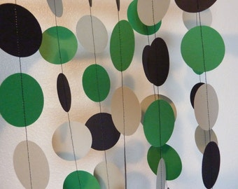 Green Garland, Handmade Paper Circle Garland, St. Patricks Day Decoration, green, gray, black