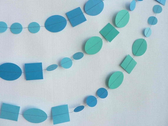 10' Ocean Blue and Green Paper Garland, Circles, Squares and Ovals