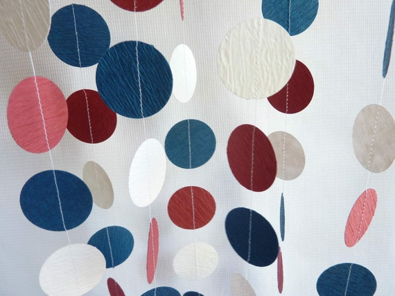 Red, White and Blue Textured Paper Garland, 10'
