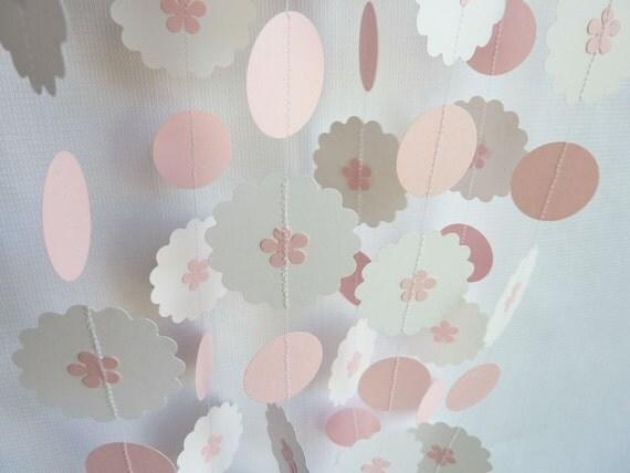 Baby Girl Garland, Pink and White, 10'