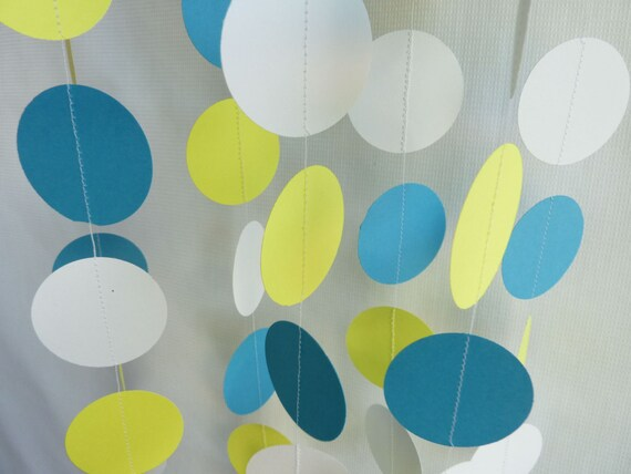 Blue, Yellow and White Party Garland, 10 feet long FRESH AND FUN