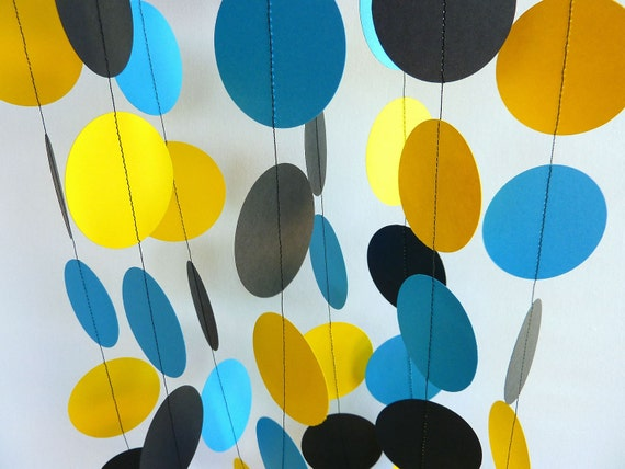 Boy's Birthday Garland, Yellow, Blue, Black Birthday Party, Paper Circle Garland, 10 ft. long