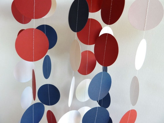 Paper Garland, Red, White, Blue, 4th of July Decoration