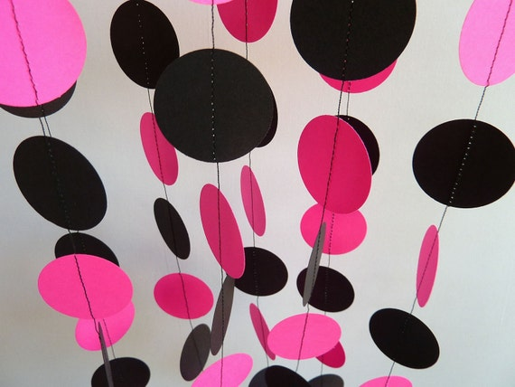 Hot Pink & Black Garland, Paper Garland, Bridal Shower, Birthday Decoration