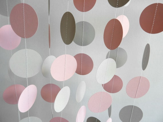 Pink and Gray Paper Garland, Pink Wedding Garland, Baby Shower Decor, 10 ft. long