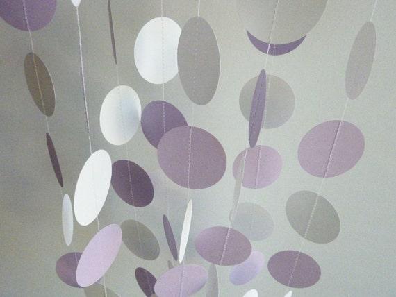 Paper Garland, Lavender, Lilac, Purple, White, WEDDING, NURSERY, Baby, Birthday
