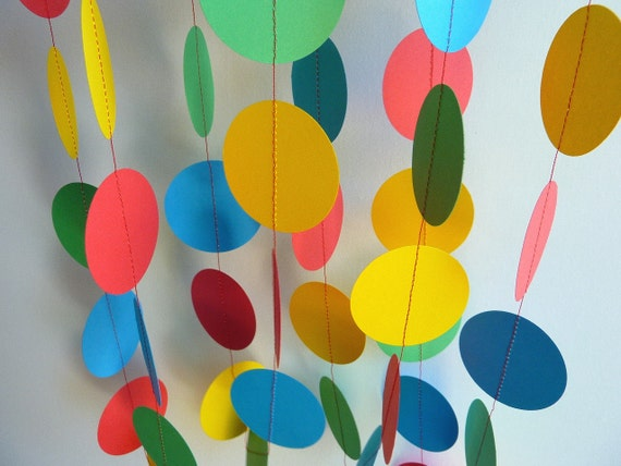 Birthday Party Decorations, red, blue, yellow, green, paper garland, Primary Colors Garland, 10 ft. long