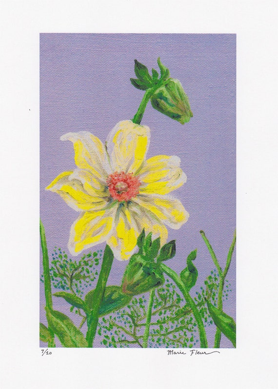 Yellow Flower Blossoming - Print of Original Oil Painting Hand Signed/Numbered 7 of 10