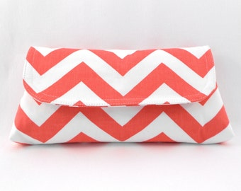 Clutch Coral and White ZigZag Chevron