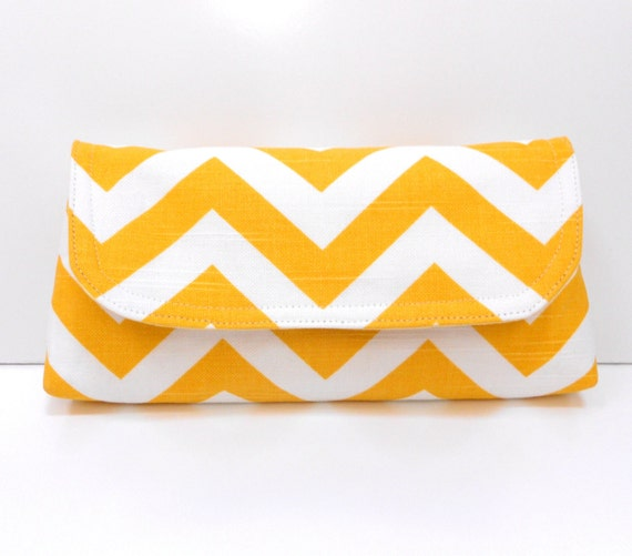 Clutch Yellow and White ZigZag Chevron
