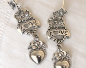 Bows, Hearts, Flowers, Love... Gorgeous antique silver dangle earrings, drop, gift, set, matching necklace