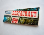 "Restaurant Open - Limited Edition Fine Art Photo Transfer on 10""x30"" Wood Panel - by Patrick Lajoie"