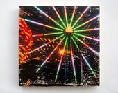 "Ferris Wheel Lights - Limited Edition Fine Art Photo Transfer on 14""x14"" Wood Panel by Patrick Lajoie"