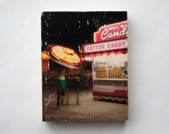 Carnival, 'Cotton Candy', Limited Edition Photo Art Block, Image Transfer on Wood Panel by Patrick Lajoie, fall fair, amusement park, midway