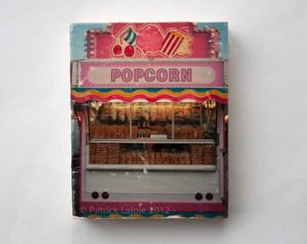 Carnival Photography, 'Popcorn' Photo Art Block, Limited Edition ImageTransfer on Wood Panel by Patrick Lajoie, amusement park, fall fair