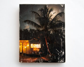 Tropical Airstream, 'Blue Moon' Limited Edition Photo Art Block, Image Transfer on Wood Panel by Patrick Lajoie, camping, tropics, full moon