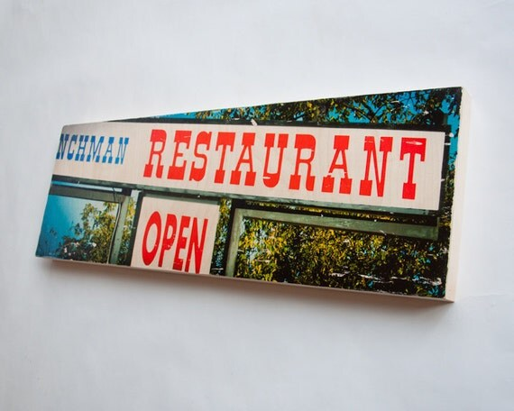 """Restaurant Open - Limited Edition Fine Art Photo Transfer on 10""""x30"""" Wood Panel - by Patrick Lajoie"""