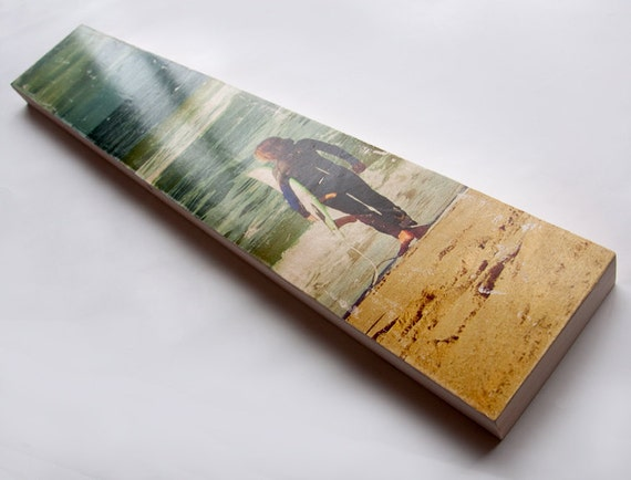 """Surfing Photo Art by Patrick Lajoie - Limited Edition Fine Art Photo Transfer on 6""""x36"""" Wood Panel"""