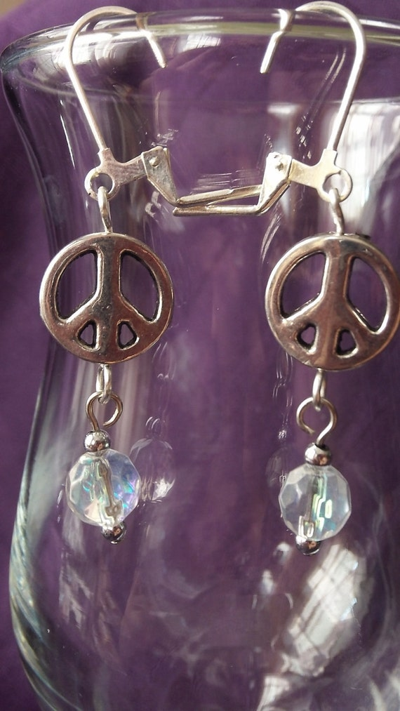 Peace Sign Lever Back Dangle Earrings with Iridescent Glass Beads Handmade