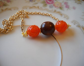 Orange Lucite Necklace, Upcycled Vintage Orange and Wood Bead, Gold Necklace