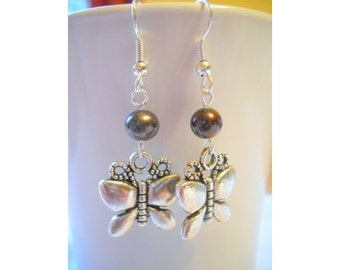 Silver Butterfly Earrings with Freshwater Pearl, in Silver